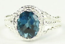 London Blue Topaz, 925 Sterling Silver Ring, SR070-Handmade