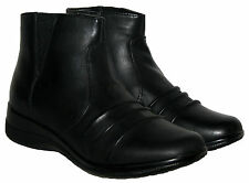 Womens Annabelle Black Faux Leather Zip Up Winter Flat Ankle Comfort Boots 3 -8