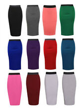 LADIES PLAIN OFFICE STRETCH BODYCON MIDI PENCIL SKIRT SIZE UK 8-22