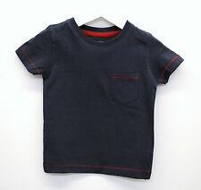 Baby Boys Ex Next T-Shirt Top Soft Cotton Red Stitch Navy Age 3 to 24 Months