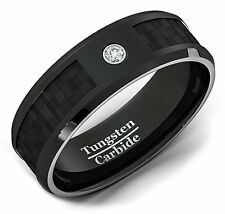 Mens Wedding Band Black Tungten Ring 8mm Carbon Fiber Zircon Comfort Fit