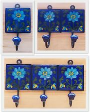 Indian Ceramic Tile Coat Robe Hook - Blue with Three Flowers - Fair Trade - Nice