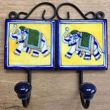 Indian Ceramic Tile Coat Robe Hook - Yellow with Elephant and Blue Border