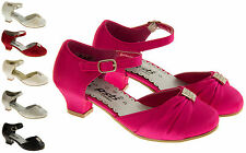 Girls Satin Shoes Black Pink Ivory Red Silver Party Heels Size 9 10 11 12 13 1 2