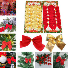 12X Christmas Tree Bownot Decoration Baubles XMAS Wedding Party Ornament Decal