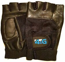 LEATHER HALF FINGER MENS CYCLING GLOVES BIKE PADDED BICYCLE FINGERLESS SPORTS