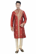 Indian Designer Red Kurta Sherwani for Men 2pc Suit - Worldwide Postage