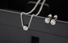 925 Sterling Silver AAA Cubic Zirconia Mini *Dot* Jewelry Set: Necklace&Earring