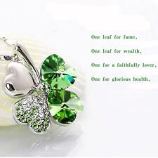 Cute Women Happiness Clover Crystal Four Leaf Pendant Chain Necklace Best Gifts