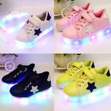 Led Kids Boys Girls Light Up Sneakers Flat Casual Shoes Babies Child Year 1 - 6