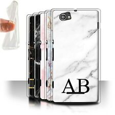 Personalised Marble Gel/TPU Case for Sony Xperia M/C1905/Name/Initial DIY Cover