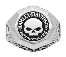 Harley-Davidson Mens Sculpted Willie G Skull H-D Ring, Sterling Silver HDR0441