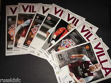 2012/13 ASTON VILLA HOME PROGRAMMES CHOOSE FROM