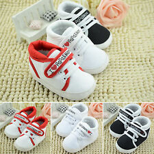Kids Baby Sneaker Girls Boys Lace Up Soft Sole Crib Pram Shoes Trainer Prewalker