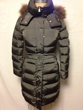 Add Down Belted Coat w/ Detachable Fur Trim Hood Size 0 Military NWT Authentic