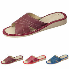 Womens Natural Leather Slippers Mules Slip On Open Toe Shoes, FP476