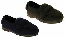 Mens Grey/Navy Blue COOLERS Orthopaedic Comfort Adjustable Slippers SIZE 7-12