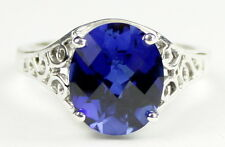 Created Blue Sapphire, 925 Sterling Silver Ring, SR057-Handmade