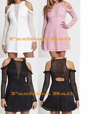 NEW WOMENS  CUT OUT COLD SHOULDER SEXY LACE SKATER MINI PARTY DRESS UK 6-14