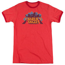 CHARLIES ANGELS FADED LOGO Licensed Men's Ringer Graphic Tee Shirt SM-3XL