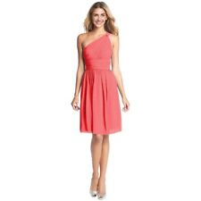 Graceful One Shoulder Chiffon Cocktail Evening Party Bridesmaid Dress Coral Red