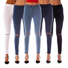NEW WOMENS HIGH WAISTED RIPPED KNEE SKINNY JEANS LADIES JEGGINGS SIZES 6 - 18