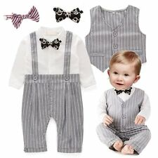 Baby Boy Wedding Christening Formal Tuxedo Suit+Waistcoat Outfit Clothes Set