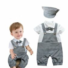 Baby Boy Wedding Christening Formal Party Tuxedo Suit Romper Outfit+HAT Set3-18M
