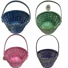2x 29cm Stone Wash Woven Bamboo Basket w Handle Easter Basket Décor Gift Basket
