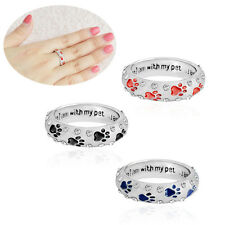 Women's Fashion Pet Dog Claw Diamond Ring Jewellery When I Am with My Pet