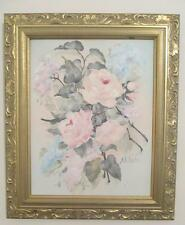 ROMANTIC ROSE PAINTING hp chic shabby cottage vintage gold gilt pink dusty blue