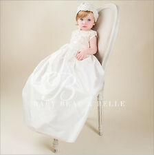 Baby Beau and Belle Tessa girls christening and baptism silk jumpsuit gown set