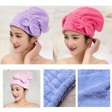 Multi-color Coral  Velvet Hair Towels Drying Wrap Quick Dry Cap Bow