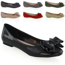 NEW WOMENS FLAT PUMPS SLIP ON BOW DETAIL LADIES BALLET BALLERINA DOLLY SHOES