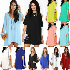 New Summer Womens Ladies Short Mini Dress Loose Casual Long Top Blouse Plus Size