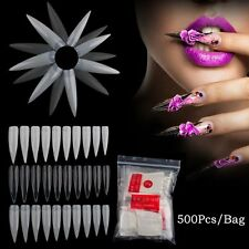 500Pcs  French Acrylic 10 Size Full Tips False Nail Fake Fingernail
