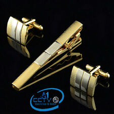 Men's Frosted Silver Gold Plated French Cufflinks and/or Tie-Clip Set Gift