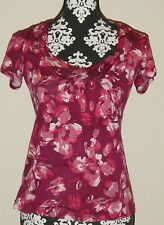 Anthropologie Ric Rac Size Small Floral Short Slv Top w/Beautiful Neckline