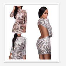Sexy Women Long Sleeve Sequin Open Back Bodycon Party Club Mini Evening Dress