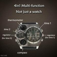 Men's Dual Time Display Thermometer Compass Quartz Wrist Watch Wristwatch Gift