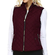 Fashionazzle Women's Lightweight Suede Contrast Quilted Zip Up Vest