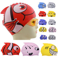 Waterproof Children Cartoon Silicone Swimming Bathing Caps Hat  Fish Shark Cute