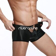 Sexy Mens Lingerie PU Leather O-Ring Boxer Briefs Shorts Underwear Underpants