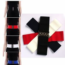 "Fashion ! Women Elastic Cinch Belt With Clasp Buckle 3"" Wide Stretch Waist Band"