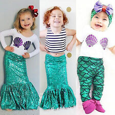 Mermaid Cosplay Costume Kids Baby Girls T-shirt Skirt Pants Casual Outfits 0-8Y