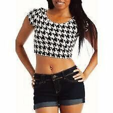 LADIES HOUNDSTOOTH BLACK AND WHITE CROP TOP CELEB INSPIRED SIZE 8,10,12,14