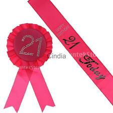 Set of 2pcs Satin Sash+Birthday Rosette18th/21th/30th/40th/50th /60th Age