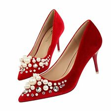 Pearl Rhinestone Pointed Toe Pump Suede Slim High Heel Women Elegant Party Shoes