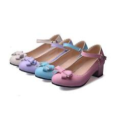 Mary Jane girl womens chic bowknot buckle strap cuban low heel pumps shoes size