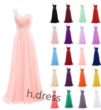 One Shoulder Long Beaded Chiffon Bridesmaid Formal Gown Party Evening Prom Dress
